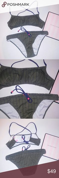 Victoria Secret Swim Bikini Victoria Secret Swim Suit Bikini Small top Bralette style Removable padding Green navy blue pinstripe Medium bottom New with tags  For more like this search Chavonne11 swim Victoria's Secret Swim Bikinis
