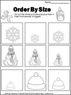 Winter Order By Size Activity (cut and paste) with recording sheet. Preschool Classroom, Preschool Worksheets, Kindergarten Math, Classroom Activities, Preschool Activities, Preschool Winter, Winter Fun, Winter Theme, Winter Ideas