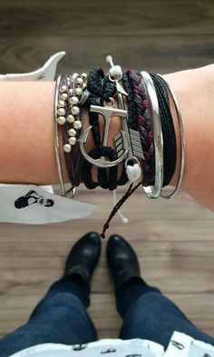 Black and Silver Bracelets - Featuring Pura Vida's Platinum, Anchor Wraps, and Silver Charm Collection