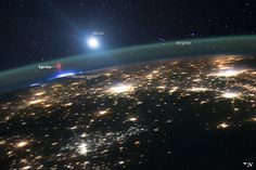 Red Sprite over central US at night. Astronaut photo from the ISS - 10 Aug 2015
