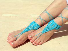 Barefoot sandals, blue crochet sandals. barefoot sandles,  crochet barefoot sandals, jewelry for the foot