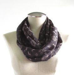 Black Crown Print Scarf  Black Infinity Scarf  by EyeCandy395, $20.00