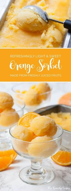 This fresh orange sorbet is my take on the brightly coloured ice pops that I used to love as child. It is made from freshly juiced fruit.