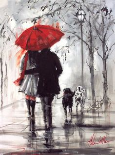 Love under an umbrella, from a painting by Australian artist Helen Cottle. Art And Illustration, Art Amour, Rain Painting, Couple Painting, Knife Painting, Love Painting, Umbrella Art, Beautiful Paintings, Romantic Paintings
