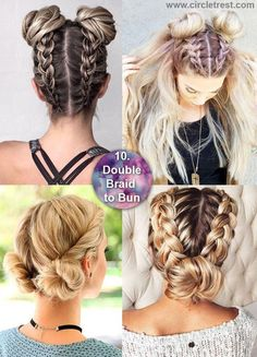 How cool is it! Braid into bun variations - 12 Long Hairstyles For Everyone | CircleTrest