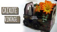 Caixotinho vintage decorado - caixote de feira em mdf como porta batom e...