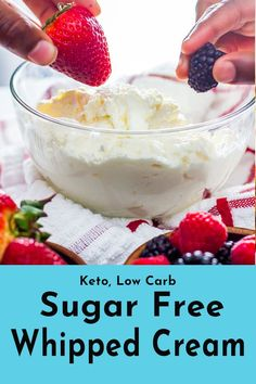 My sugar free whipped cream of choice was always Cool Whip. Now, living a low carb lifestyle the previous wouldn't do. Unlike Cool Whip this copycat is completely keto friendly and sugar free. The perfect dip for fruits or eating spoonfuls at a time, this Sugar Free Fruits, Sugar Free Desserts, Sugar Free Recipes, Low Carb Desserts, Low Carb Recipes, Yummy Recipes, Cream Cheeses, Ketogenic Diet, Ketogenic Recipes