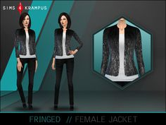 This is a stand alone jacket for women with a fringed appearance and white undershirt. This top gives a very chic and modern look to your Sim, perfect for both every day and formal looks.  Found in...