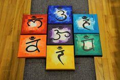 7 Chakras / Canvas Painting / Meditation / Chakras Healing / Home Decorations / Wall Decor / Chakras Wall Art / Chakras Artwork / Symbols Chakra Painting, Chakra Art, 7 Chakras, Feng Shui Symbols, Cute Canvas Paintings, Buddha Painting, Ganesha, Acrylic Canvas, Love Symbols