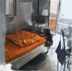 """huariqueje: """"Interior in Arancio and backlit in orange - Nicola Nannini, 2016 Italians, b.1972- Oil on canvas,100 x 100 cm. """""""
