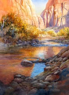 A patch of Blue - Painting of Virgin River in Zion Canyon , original Watercolor Painting of Zion National Park by Roland Lee - Watercolor Paintings by Roland Lee