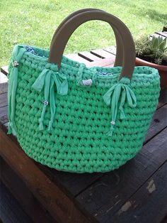 borsa fettuccia cotone verde,Ralù