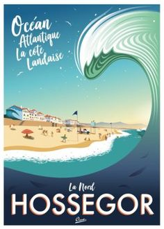 Vintage surf poster art by Damien Clavé. Vintage Surfing, Surf Vintage, Vintage Mermaid, Poster Surf, Retro Poster, Wave City, Beach Posters, Surf Posters, Plakat Design