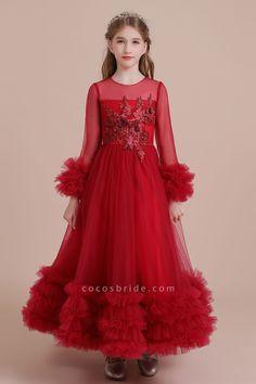 #girldresses#girls#dresseswomen#perfect#bridesmaiddress# Red Flower Girl Dresses, Dress Flower, Line Flower, Tulle Flower Girl, Little Girl Dresses, Prom Dresses Uk, Burgundy Bridesmaid Dresses, Wedding Party Dresses, Dresses For Sale