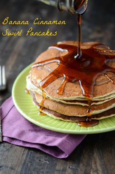 Banana Cinnamon Swirl Pancakes by @The Novice Chef Blog {Jessica}