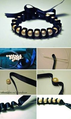 Beaded ribbon bracelet!