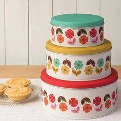 Set Of 3 Mid Century Poppy Cake Tins from Rex London - the new name for dotcomgiftshop. Great value gifts and homeware in original designs. Poppy Cake, Save Instagram Photos, Kitchenware, Tableware, Small Tins, Cosy Corner, Retro Print, Cake Tins, Home Deco