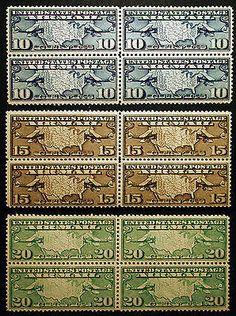 #C7 - #C9 1926-27 Air Post XF *Mint* Blocks of 4