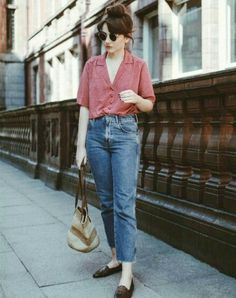 loose-fitting short sleeve button up + mules + jeans = laid back but lazy-italian stylish. i'd wear w mid-rise instead of high waisted jeans.