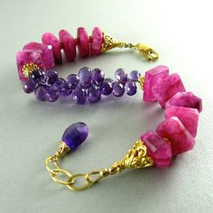 Pink Moonstone and Amethyst Bracelet by SurfAndSand on Etsy, $239.00