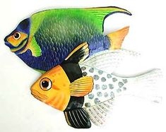 Tropical Fish Wall Hanging - Hand Painted Metal Tropical Decor - x - Beach home decor - Tropical interior decorating - Tropical decor - Painted metal art - Tropical wall decor - Caribbean decor - Tropical artwork - Tropical artwork - Tropical fish art Tropical Wall Decor, Fish Wall Decor, Fish Wall Art, Fish Art, Tropical Artwork, Tropical Interior, Outdoor Metal Wall Art, Metal Art, Painted Metal