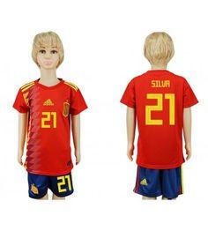 146f755efdb9 Spanien David Silva 21 Hemmatröja Barn VM 2018 Kortärmad Isco, Pique