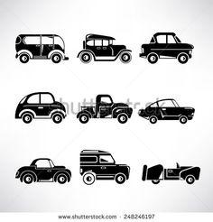 stock-vector-classic-car-icons-vintage-car-set-248246197.jpg (450×470)