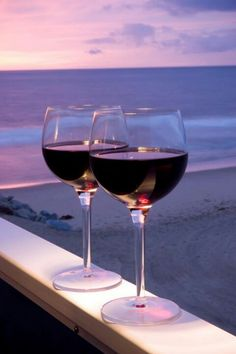 Nothing like good wine & a sunset on the beach!