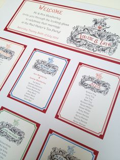 A beautiful Alice In Wonderland themed table plan from a recent wedding. More tea party ideas at http://www.toptableplanner.com/blog/a-tea-party-wedding-seating-plan