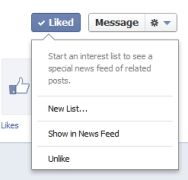 Facebook Adds Drop-Down Menu After Users Like Pages