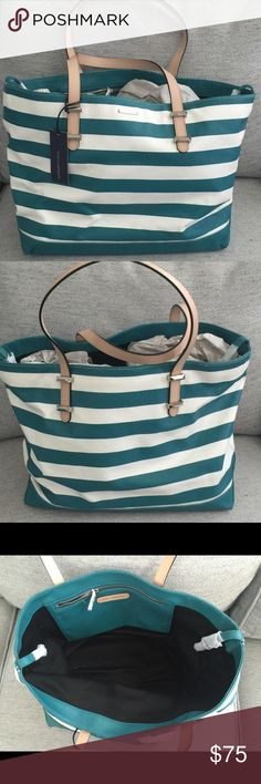 NWT Rebecca Minkoff Cherish Tote Teal stripe costed canvas. Brand new with tags. Rebecca Minkoff Bags Totes