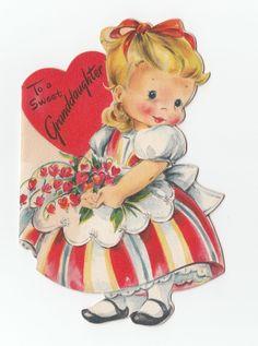 Vintage Greeting Card Valentine's Day Girl Die Cut Cute 1940s Hallmark J391 | eBay