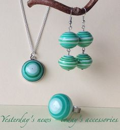 Quilled paper pendant, earrings & ring by Yesterday's news - today's accessories
