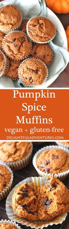 Vegan gluten free pumpkin spice muffins that are so easy to make and so delicious, you'll want to make them year-round—not just during the fall. #vegan #veganglutenfree #pumpkinmuffins #veganpumpkinrecipe via @delighfuladv