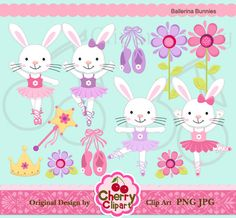 Ballerina Bunnies Digital Clipart Set forPersonal by Cherryclipart, $4.50