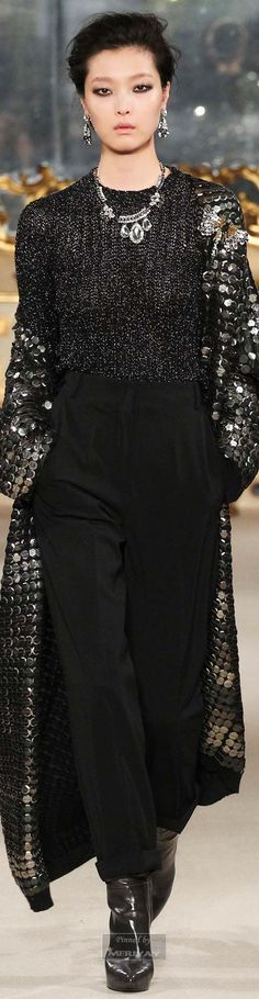 Les Copains ~ Embellished Metallic Silver Topcoat over  Black Sweater+Pant 2015.