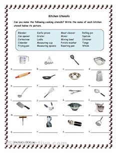 Kitchen Tools and Utensils for classroom | Kitchen Utensils worksheet - Free ESL printable worksheets made by ...