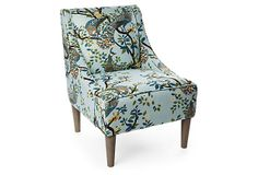 Fletcher Swoop-Arm Chair, Sky Blue/Multi on OneKingsLane.com