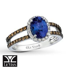 Levian tanzanite and chocolate diamonds.  Weisfields has this with blackberry diamonds, which is the one I want.