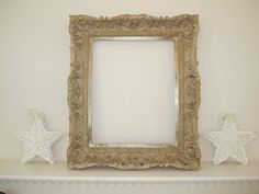 Shabby Chic Large Ornate Frame for Picture Mirror by TheCottageWay Shabby Chic Frames, Shabby Chic Decor, Vintage Home Decor, Bridal Decorations, Large Frames, Gold Wood, Fabulous Fabrics, Baroque, Picture Frames