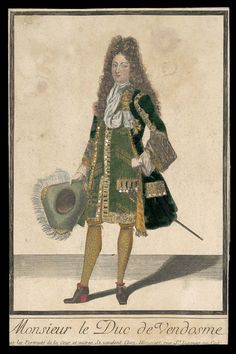 Monsieur le Duc de Vendosme (dressed print)  French Late 17th century Engraver Henri Bonnart (1642–1711) Engraving and etching on laid paper with hand-applied color and spangles, fabric swatches inlaid from behind