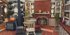 Random screenie from Bedlington Boathouse. I did a similar thing with the fireplace in the living room, although it has less impact in there I think. Sims Building, Building A House, Sims 4 Kitchen, Sims 4 House Plans, Sims 4 House Design, Casas The Sims 4, Sims 4 Cc Furniture, Sims 4 Build, Sims 4 Custom Content