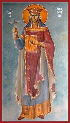 Greek Orthodox Icon of St Catherine of Alexandria Religious Images, Religious Icons, Religious Art, Byzantine Icons, Byzantine Art, St Catherine Of Alexandria, Saint Katherine, Greek Icons, Christian Religions