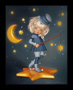 LittleDesign: Little guardian of the stars Sleep Cartoon, Game Of Thrones Artwork, Paris Wallpaper, Good Night Greetings, Good Night Gif, Baby Painting, Cartoon People, Fantasy Images, Fairy Art