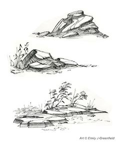 New ideas for landscaping drawing reference Realistic Drawings, Art Drawings Sketches, Pencil Drawings, Nature Sketch, Nature Drawing, Landscape Sketch, Landscape Drawings, Drawing Rocks, Painting & Drawing