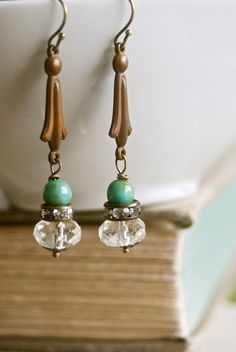 Evelyn.art decorhinestone beaded drop earrings. by tiedupmemories, $18.00