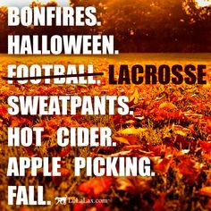 Just a few of our favorite things! :) Bonfires, Halloween, LACROSSE, Sweatpants, Hot Cider, Apple Picking. Bring on FALL! LuLaLax.com