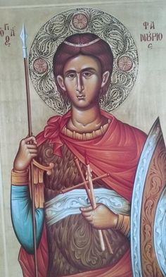 St Fanourios icon from ByzantineIconsByMike Byzantine, Original Paintings, Saints, Greek, Icons, Artwork, Pictures, Fictional Characters, Santos