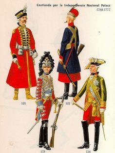 121 .- Polonia : Húsares Reales . Capitan. 1770.                     122 .- Polonia : Caballería de la Confederación .Soldado.1769.                     123 .- Rusia : Guardia de Caballeros .Guardia.1772.                     124 .- Rusia : Mariscal de Campo. 1768.