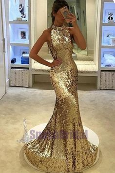 611dc602 Sequin Sparkly Yellow Silver High Neck Fashion Prom Dresses, Party Dress,  Evening dresses, PD0546